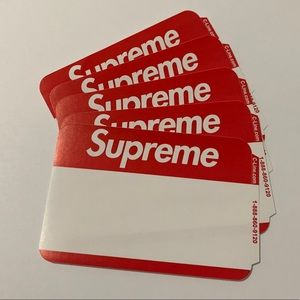 Lot of 5: Supreme Name Badge Stickers (red) FW20
